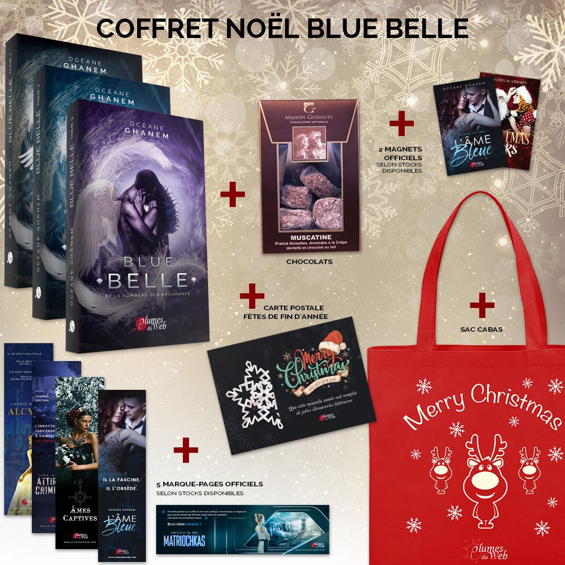 <span class='titre'>Blue Belle</span> - <span class='sous_titre'>Pack Spécial Noël</span> - <span class='auteur'>Océane Ghanem</span> - <span class='type_produit'>Broché deluxe</span> 1